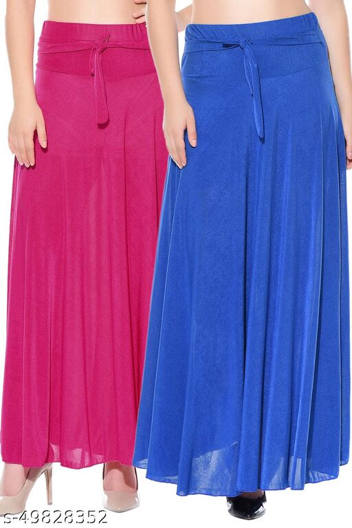 Dashy Club Combo of 2 Pcs Pink Blue Solid Crepe Full Length Flared Skirts