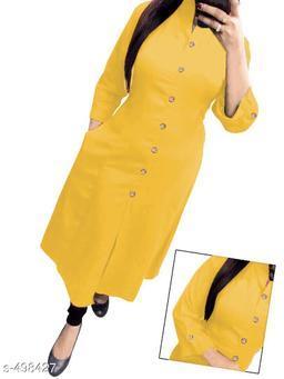Women Cotton A-line Solid Yellow Kurti