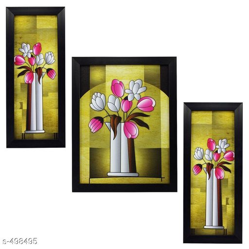 Paintings & Posters Stylish Wall Paintings (Set Of 3)  Material: Wood & Plastic Size: Frame 1 (L x W) - 5.2 in x 12.5 in, Frame 2 (L x W) - 9.5 in x 12.5 in, Frame 3 (L x W) -  5.2 in x 12.5 in  Description: It Has 3 Pieces Of Frames With Painting (Glass Is Not Included) Work: Printed Sizes Available: Free Size   Catalog Rating: ★4.1 (170)  Catalog Name: Spiritual Wall Paintings Vol 16 CatalogID_54859 C127-SC1611 Code: 343-498495-