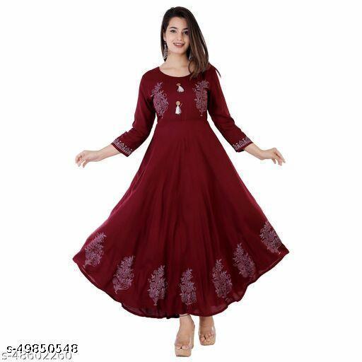 Women's Printed Rayon Round Neck 3/4 Sleeve Anarkali Festive Casual Party Wear Marron Kurti