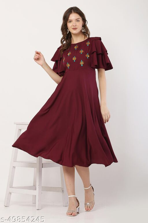 Maroon Color Casual Flared Dress