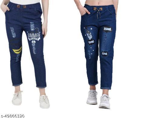 Denim Jeans/Jogger Elastic Waist Drawstring Stretch Side Pockets Summer Dark and Bang Dark Casual Jeans  Pack Of 2