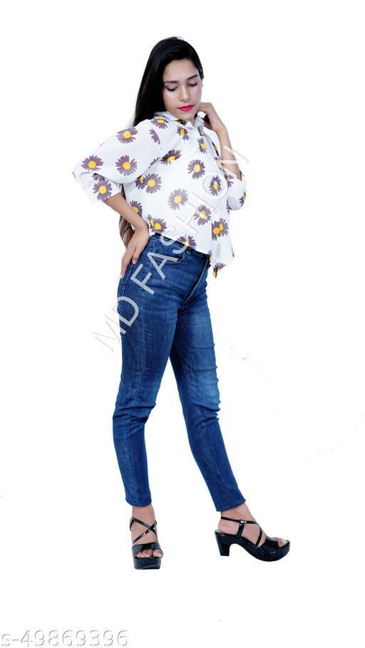 Women Casual Long Sleeves Shirt, Flower Printed  Collar Shirt