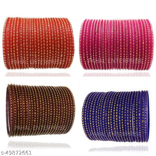 PAHAL ENTERPRISE Beautifull Traditional Nion Coloured Dot Pattern Glass Bangles Comes With Four Different Colours For Girls & Women (Pack of 96 Bangles, Colours:- RED, RANI, MAHROON & BLUE)
