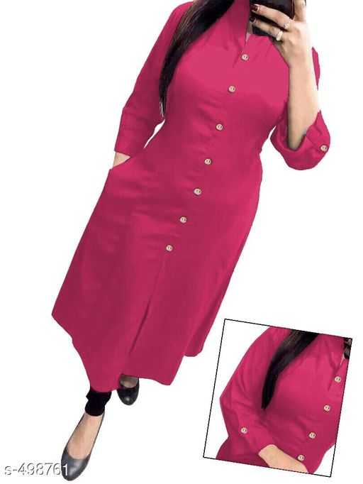 Kurtis & Kurtas Designer Casual Kurti  *Fabric* Cotton   *Sleeves* 3/4th Sleeves Are Included   *Size* M - 38 in, L - 40 in, XL - 42 in   *Length* Up To 46 in   *Type* Stitched   *Description* It Has 1 Piece Of Kurti   *Work* Button Work  *Sizes Available* M, L, XL, XXL   Catalog Rating: ★3.7 (428) Supplier Rating: ★3.8 (4453) SKU: SOS-k2074 Shipping charges: Rs1 (Non-refundable) Pkt. Weight Range: 300  Catalog Name: Damayanti Stunning Casual Kurtis Vol 2 - SOS Surat Code: 093-498761--194
