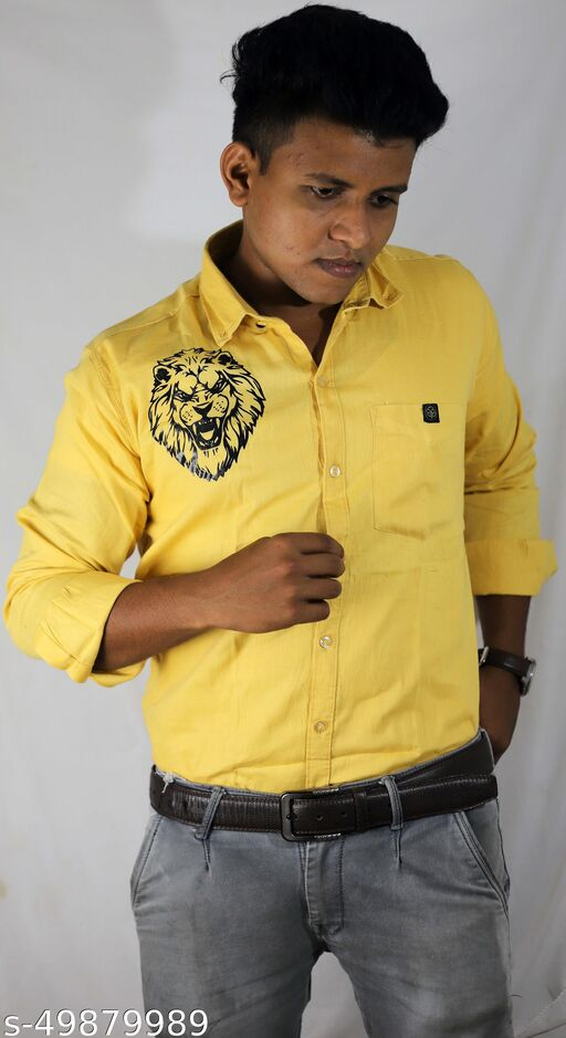 Allu Arjun Lion print latest fashion attractive stylish casual wear desgin mens party wear plain cotton shart latest trend male catton sharts
