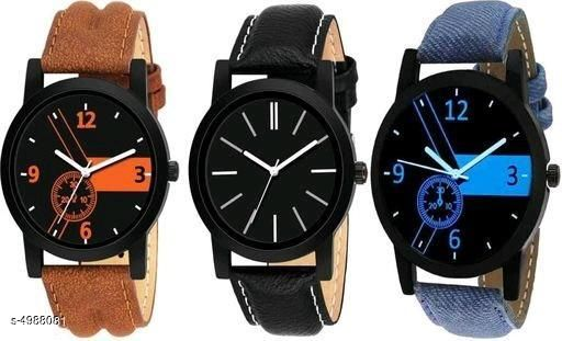Trendy Stylish Leather Men's Watches Combo ( Pack Of 3 )