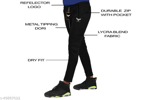 Men's Track Pant 4 Way Stretchable for Sports GYM and Formal use (Black)