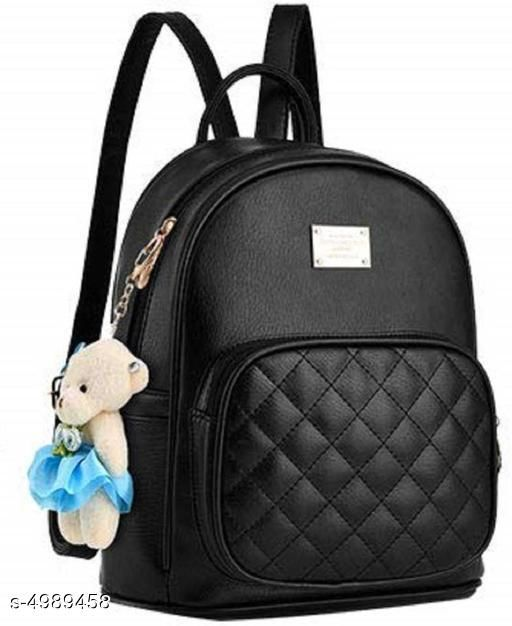 Attractive Women's Black Leather Backpacks
