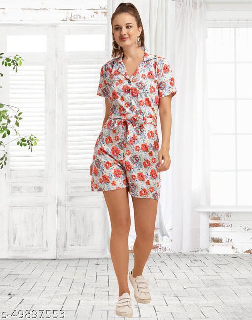 Crepe Printed White Women Jumpsuit