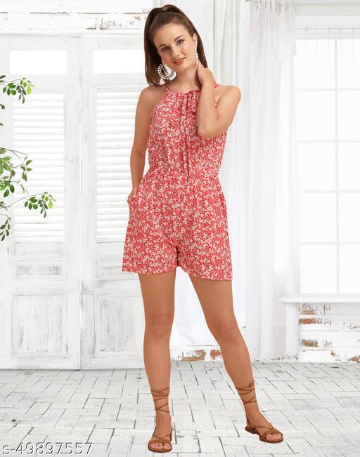 Crepe Printed Red Women Jumpsuit