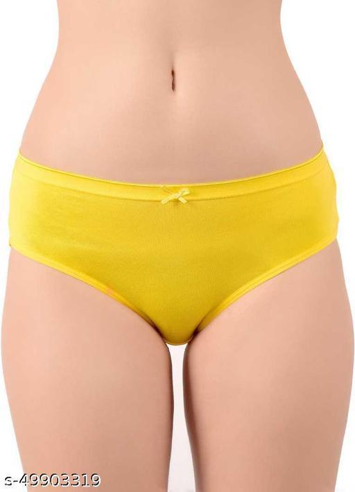 Women Bikini Yellow Cotton Blend Panty