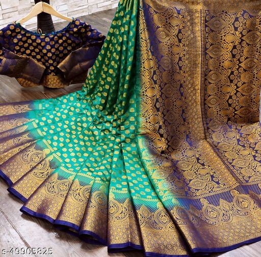 Trendy Naylon Banarasi Silk Saree With Blouse Piece (rama)