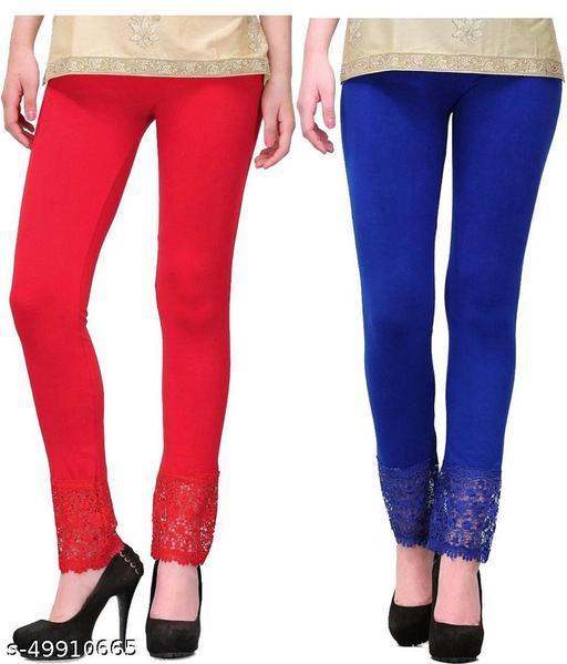 PI World Women's Viscose Fabric Botton Lace Leggings