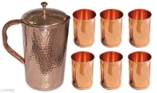 Classic Copper Water Jug & Glass
