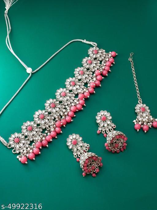 Shimmering Bejeweled Wedding Kundan Chocker Style with Maangtikka Women's Jewellery Necklaces & Chains