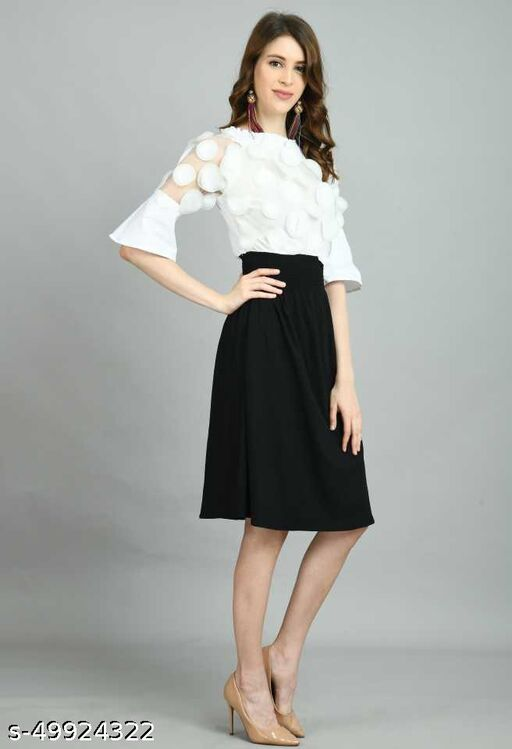 LADYANA BLACK FRILL FIT & FLARED DRESS