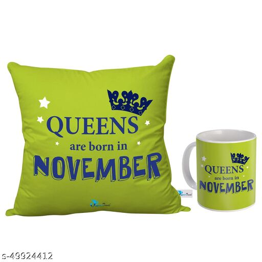 Sky Trends Queens are Born in November Printed Birthday Gift Combo (Coffee Mug 350 ml & Cushion 12x12 Inch)November Born Gifts/November Birthday Gift for Girls/Girlfriend/Sister
