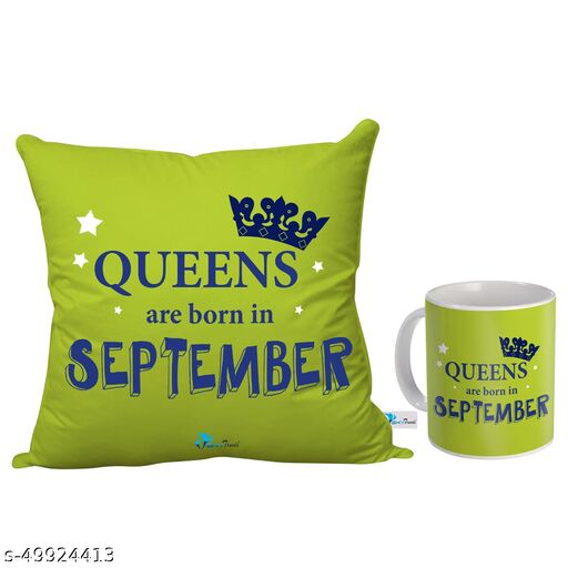 Sky Trends Queens are Born in September Printed Birthday Gift Combo (Coffee Mug 350 ml & Cushion 12x12 Inch)September Born Gifts/September Birthday Gift for Girls/Girlfriend/Sister