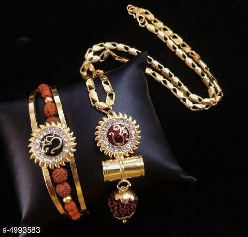 Stylish Men's White Rudraksha Bracelet & Chain Combo