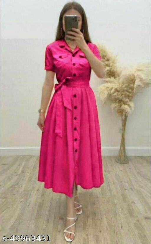 Women's Solid Heavy Rayon Color Dresses