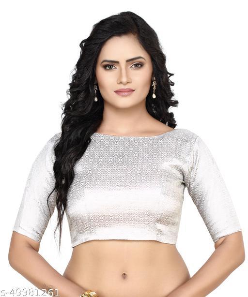 MADHU FASHION Silver Banaras Brocade Readymade Saree Blouse