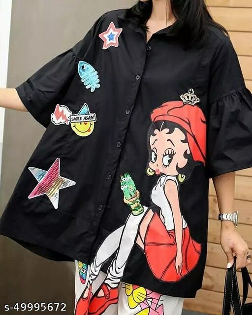Extended doll leg loose fitting shirt by High-Buy in high quality- free size till 44 bust- free size till xxl- black