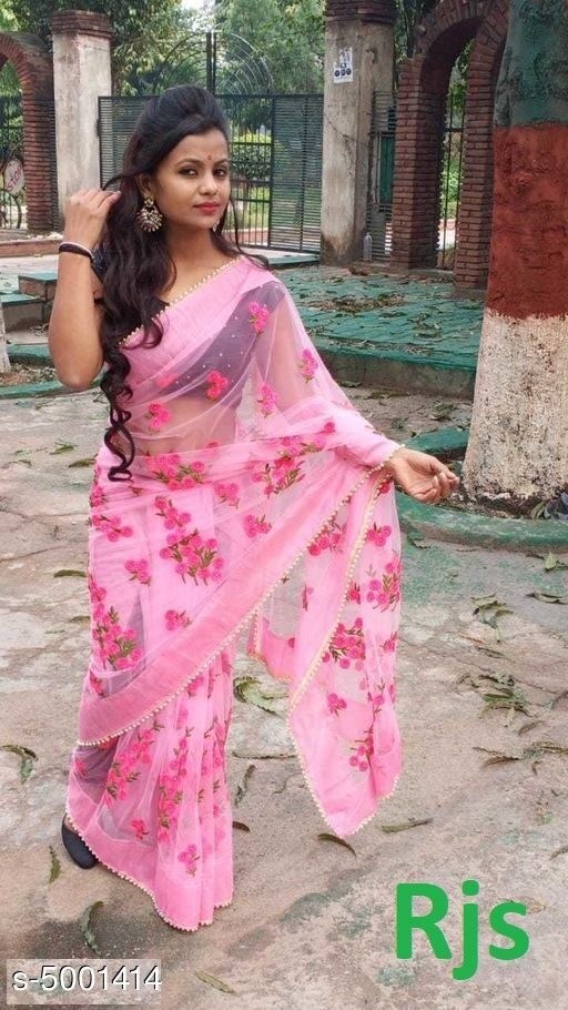 Anvitha Embroidered Partywear Net Saree