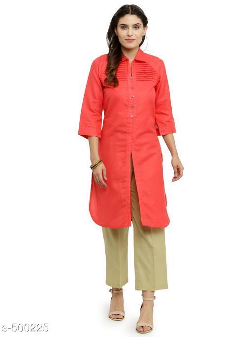 Kurta Sets Elegant Cotton Kurti Trouser Sets  *Fabric* Kurti - Cotton, Trouser - Cotton  *Sleeves* Kurti - 3/4th Sleeves Are Included  *Size* Kurti - S- 36 in, M- 38 in, L - 40 in, XL - 42 in, XXL - 44 in, Trouser - S- 28 in, M- 30 in, L- 32 in, XL- 34 in, XXL- 36 in  *Length* Kurti - Up To 45 in, Trouser - Up To 37 in  *Type* Stitched  *Description* It Has 1 Piece Of Kurti & 1 Piece Of Trouser  *Work / Pattern* Kurti - Pleats Work, Trouser - Solid  *Sizes Available* S, M, L, XL, XXL *    Catalog Name: Athena Women's Elegant Cotton Kurti Trouser Set Vol 1 CatalogID_55052 C74-SC1003 Code: 368-500225-