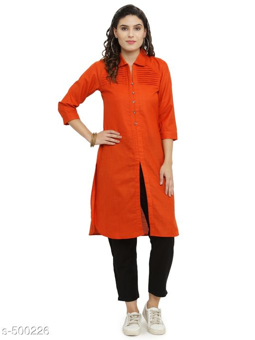 Kurta Sets Elegant Cotton Kurti Trouser Sets  *Fabric* Kurti - Cotton, Trouser - Cotton  *Sleeves* Kurti - 3/4th Sleeves Are Included  *Size* Kurti - S- 36 in, M- 38 in, L - 40 in, XL - 42 in, XXL - 44 in, Trouser - S- 28 in, M- 30 in, L- 32 in, XL- 34 in, XXL- 36 in  *Length* Kurti - Up To 45 in, Trouser - Up To 37 in  *Type* Stitched  *Description* It Has 1 Piece Of Kurti & 1 Piece Of Trouser  *Work / Pattern* Kurti - Pleats Work, Trouser - Solid  *Sizes Available* S, M, L, XL, XXL *    Catalog Name: Athena Women's Elegant Cotton Kurti Trouser Set Vol 1 CatalogID_55052 C74-SC1003 Code: 028-500226-