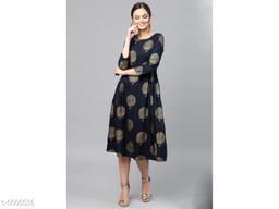 Printed Navy Blue Calf-Length Rayon Dress