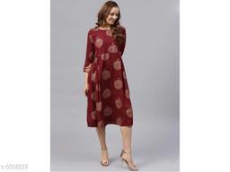 Printed Maroon Calf-Length Rayon Dress