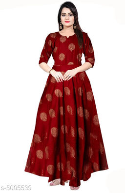 Printed Red Maxi Rayon Dress