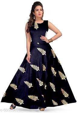 Printed Navy Blue Maxi Rayon Dress