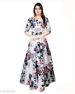 Printed White Maxi Rayon Dress