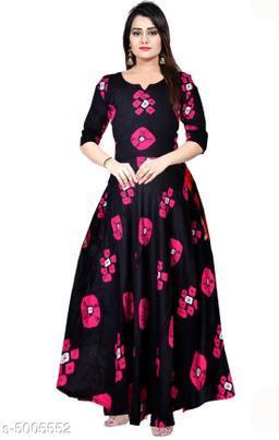 Printed Black Maxi Rayon Dress