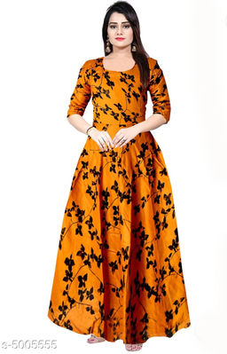 Printed Orange Maxi Rayon Dress