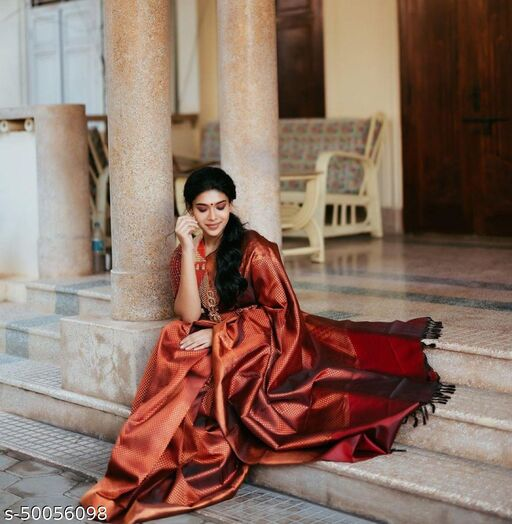 womens kanjivaram soft lichi silk saree