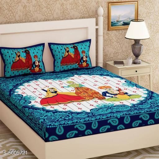 Jaipuri Printed92x82Cotton Double Bed Sheet Vol. 1