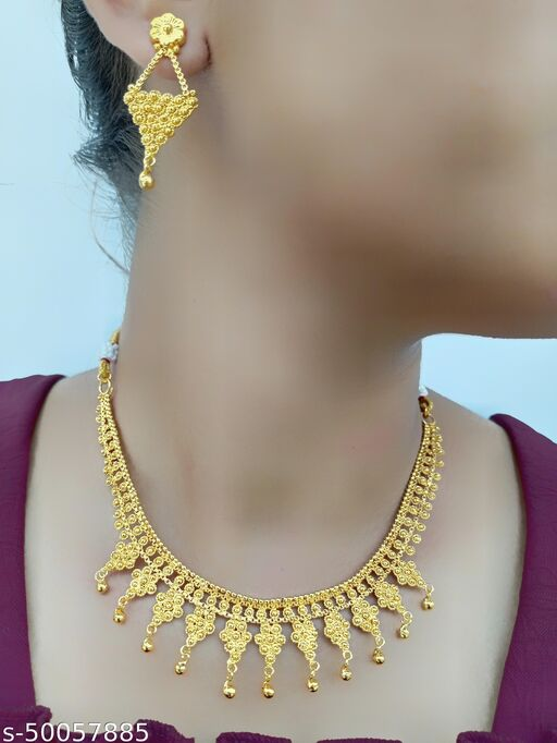 One Gram Gold Plated Jewellery Necklace Set For Women Girls