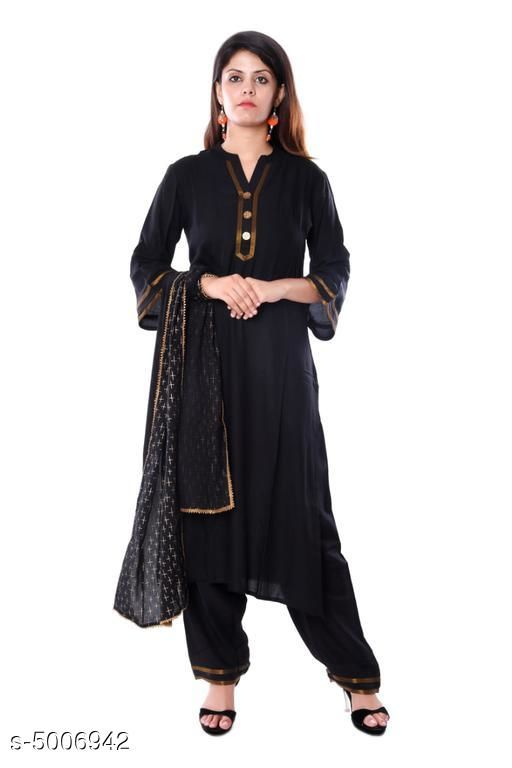 Kurtis & Kurtas Women's Solid Rayon Kurta set with Palazzos  *Kurti Fabric* Rayon  *Bottomwear Fabric* Rayon  *Dupatta Fabric* Rayon  *Fabric* Rayon  *Sleeve Length* Three-Quarter Sleeves  *Set Type* Kurti With Dupatta And Bottomwear  *Bottom Type* Palazzos  *Pattern* Printed  *Multipack* Single  *Sizes*   *XL (Bust Size* 42 in, Kurti Length Size  *L (Bust Size* 40 in, Kurti Length Size  *XXL (Bust Size* 44 in, Kurti Length Size  *M (Bust Size* 38 in, Kurti Length Size  *Dupatta Size * 2 Mtr  *Sizes Available* S, M, L, XL, XXL *    Catalog Name: Women's Solid Rayon Kurta Sets CatalogID_734949 Code: 577-5006942-