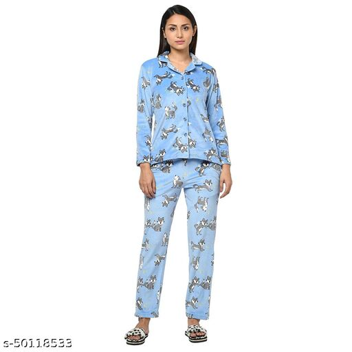 Ninnen Super Soft Fabric Printed Nightsuit For Winter