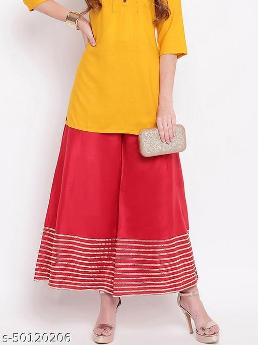 Partywear Designer Fancy Trendy RED Kalidaar Silk Palazzo with Cotton Inner