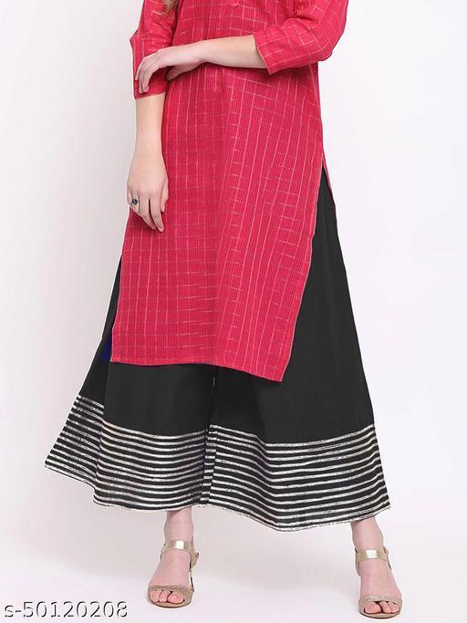 Partywear Designer Fancy Trendy BLACK Kalidaar Silk Palazzo with Cotton Inner