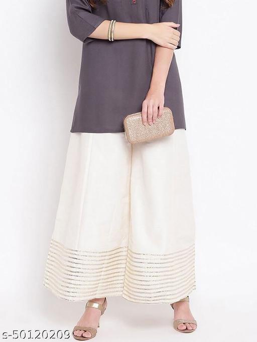 Partywear Designer Fancy Trendy OFF WHITE Kalidaar Silk Palazzo with Cotton Inner