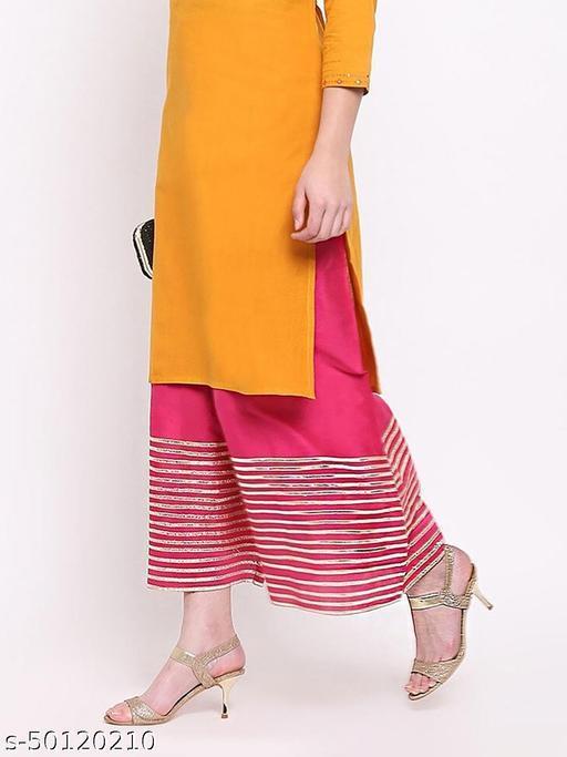 Partywear Designer Fancy Trendy MGENTA PINK  Kalidaar Silk Palazzo with Cotton Inner