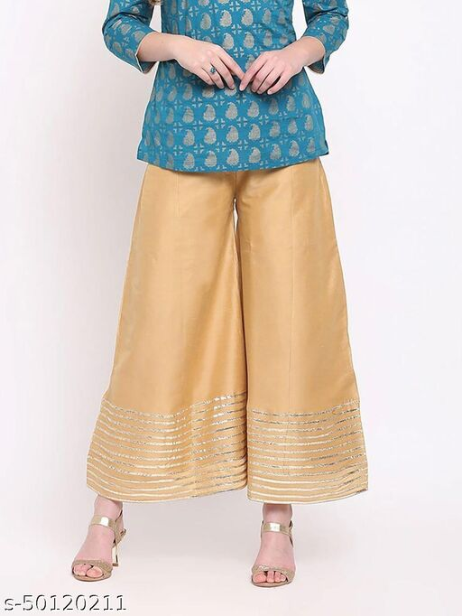 Partywear Designer Fancy Trendy GOLDEN Kalidaar Silk Palazzo with Cotton Inner