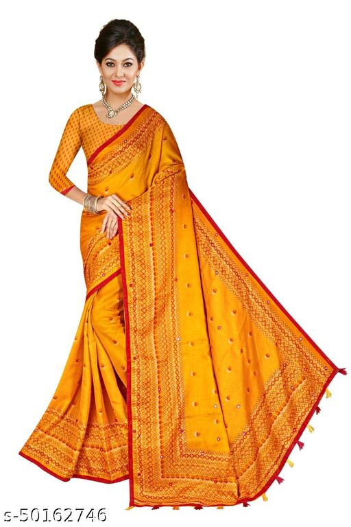 Bollewood Tradinational Mirror masic Linen jute woven Saree With Blouse