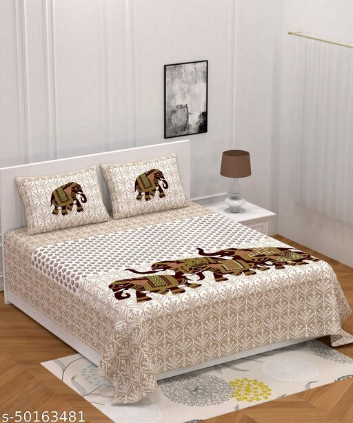 Anayara Rajasthani Jaipur print Pure cotton 144TC Queen Size 1 bedsheet 2 Pillow cover