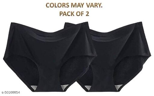 Women Hipster Black Cotton Blend Panty (Pack of 2)